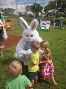 Reece NOT scared of the Easter bunny