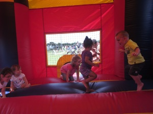 Playing in the bounce house